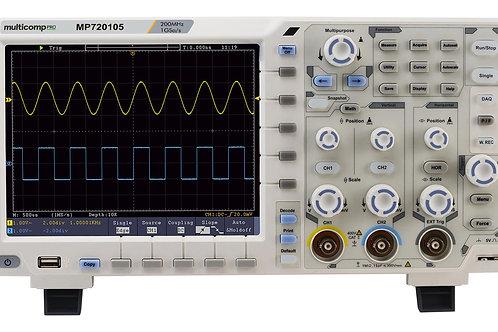 MP720105 -  Digital Oscilloscope, 2+1 Channel, 200 MHz, 1 GSPS, 40 Mpts, 1.7 ns