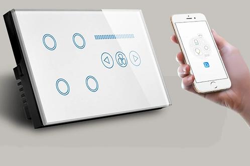 Wifi Smart Light Switch 4 Gang UK Crystal Glass Touch Panel Combo Intelligent Fa