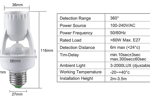 E27 Motion Sensor Light Switch 100-240V
