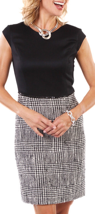 Black and White Plaid Embellished Sheath Dress