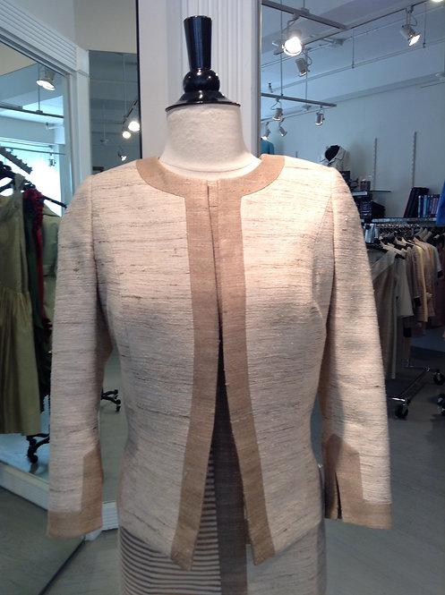 Jewel Neck Open Jacket w/ Trim