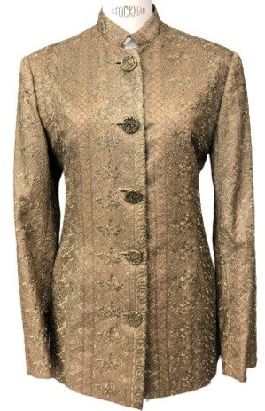 Champagne Italian Lace and Silk Stand Collar Jacket