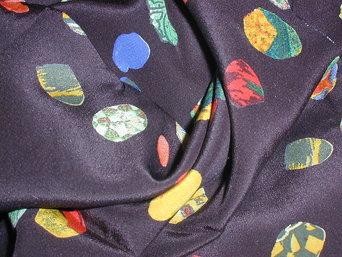Black/Red/Green Multi Colored Abstract Print Silk Charmeuse-S393