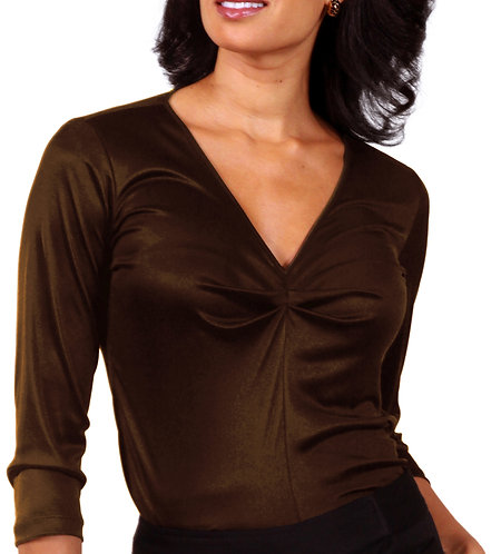 Shirred V-Neck - Chocolate Brown