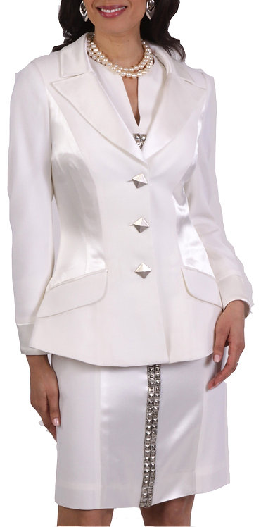 Ivory Wool Crepe Peak Lapel Flared Jacket