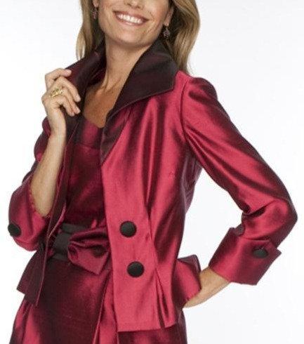 Rose Silk Wedge Collar Cocktail Jacket