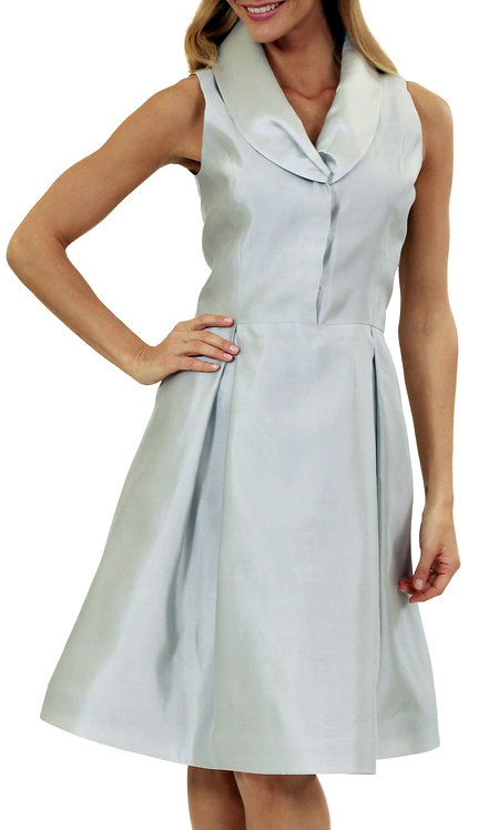 Ice Silver Pleated Shawl Collar Flared Dress w/ Sash