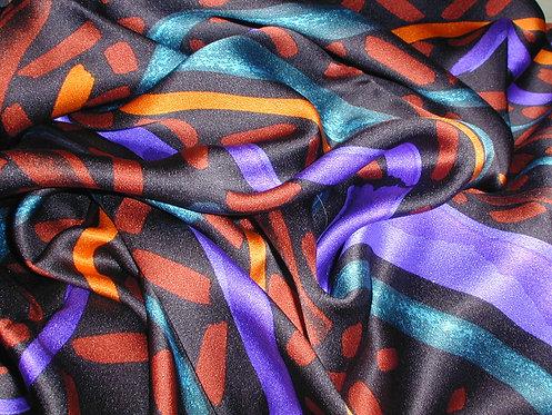 Red/Purple/Orange/Black Multi Colored Silk Charmeuse