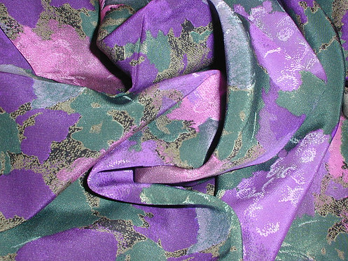 Purple/Pink/Green Abstract Print Silk Charmeuse-S391