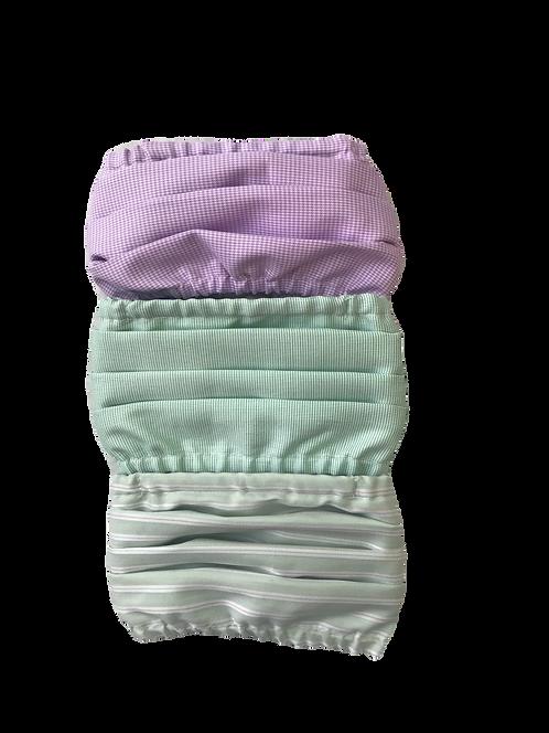 Lilac Houndstooth-Lt Green-Sage Stripe Multiset - 100% Cotton Mask w/Filter