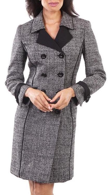 Black and White Herringbone Italian Wool Coat Dress
