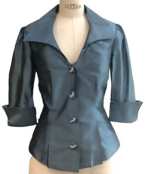 Teal Silk Pointed Lapel Cocktail Flash Jacket