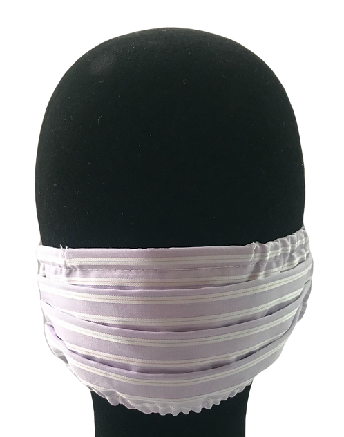 Lavender w/ White satin stripe 100% Cotton Mask w/Filter Pocket