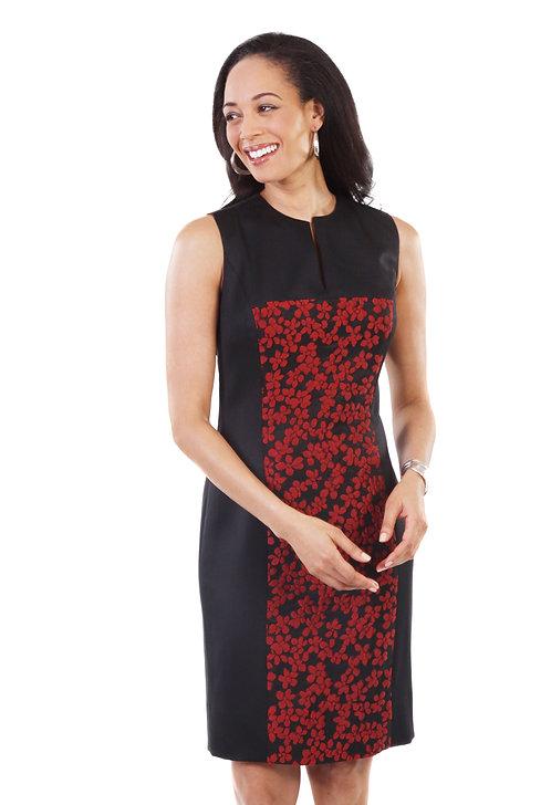 Sleeveless V-Neck Panel Sheath Dress