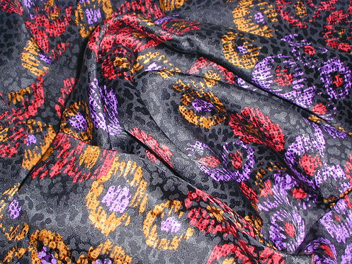 Black/Red/Purple/Yellow Multi Colored Abstract Jacquard Print Silk Charmeuse