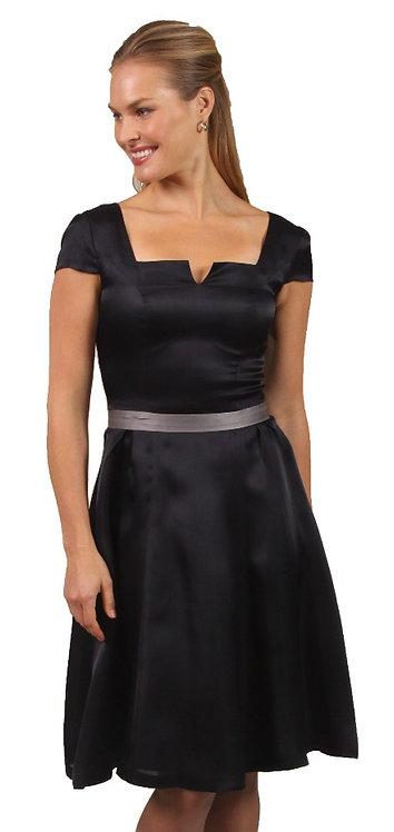 Slit Square Neck A-Line Dress w/ Pleat Detail