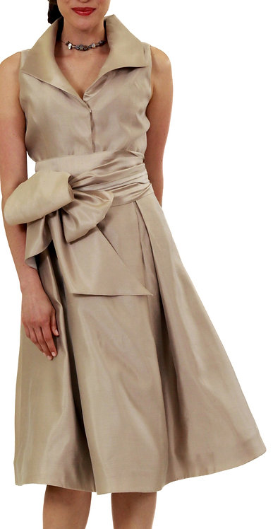 Taupe Pleated Shawl Collar Flared Dress w/ Sash