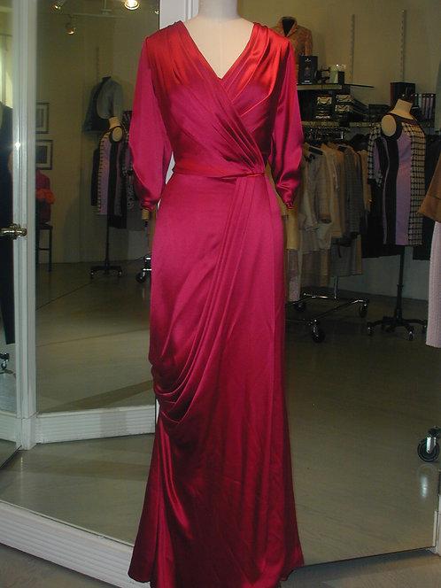 V-Neck Wrap Gown w/ Pleat Detail
