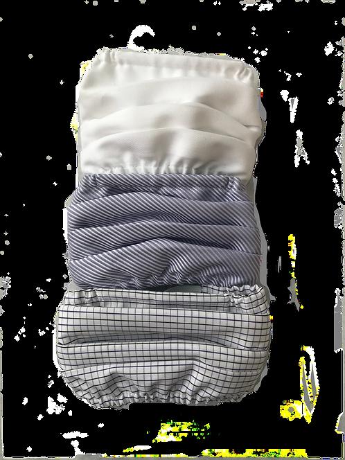 White-Lavender Twill-Purple Check Multiset - 100% Cotton Mask w/Filter