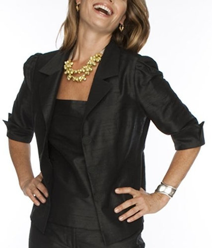 Black Silk Portrait Collar Cocktail Jacket