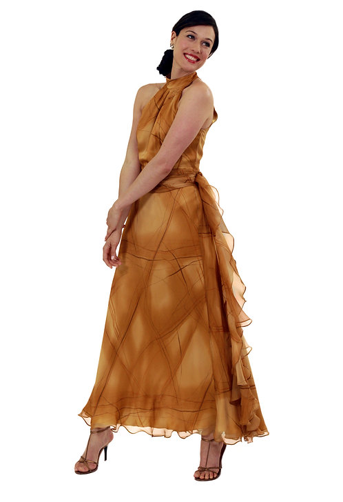 Halter Neck Gown w/ Flounce Detail