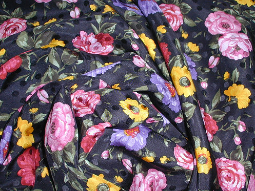 Black/Red/Pink/Yellow Multi Colored Floral Jacquard Print Silk Charmeuse