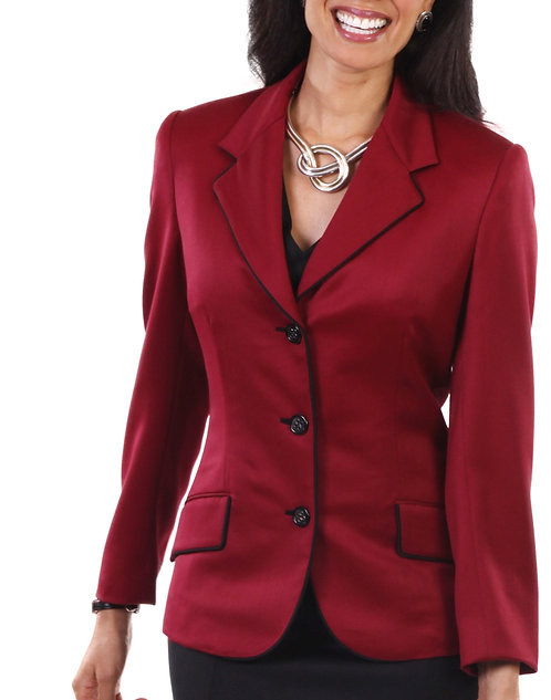 Red Italian Wool 3 Button Notch Lapel Jacket