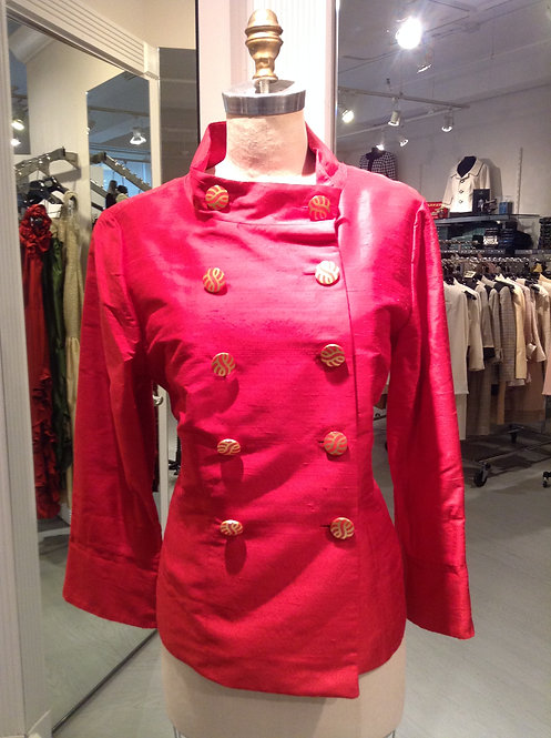 Red Silk Double Breasted Softly Tailor Jacket