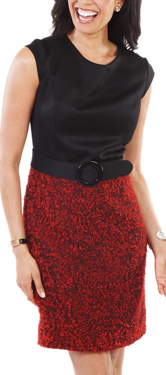 Red and Black Italian Boucle Sheath Dress