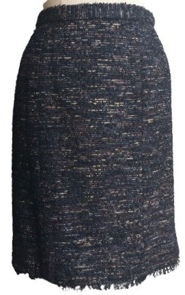 Navy Pink and Blue Italian Wool Fringed Straight Skirt