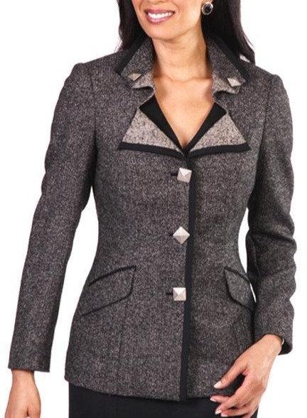 Beige and Black Italian Wool Herringbone Parted Lapel Jacket