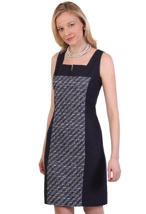 Slit Square Neck Paneled Sheath Dress