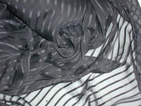 Gray/Black Striped Silk Chiffon