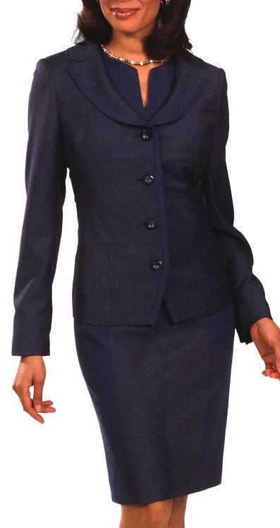 Navy ItalianWool Slit Neck Paneled Sheath Dress