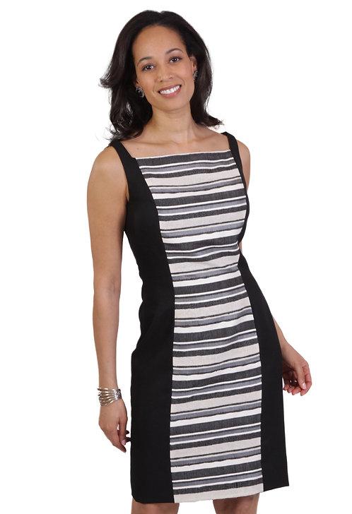 Ivory/Black Square Neck Paneled Sheath Dress