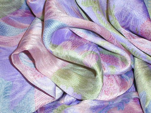 Pink/Green/Lilac Floral Jacquard Print Silk Charmeuse