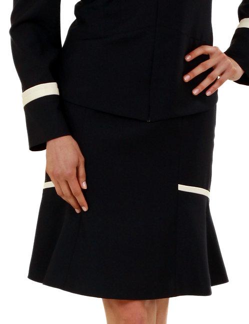 Navy Italian Wool Flared Skirt w/ Contrasting Ivory Trim