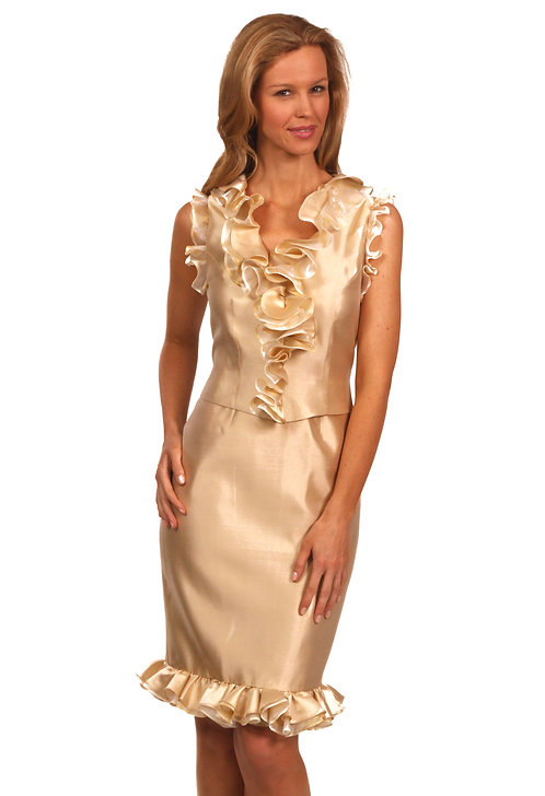 Champagne Silk V-Neck Cocktail Dress w/Ruffle
