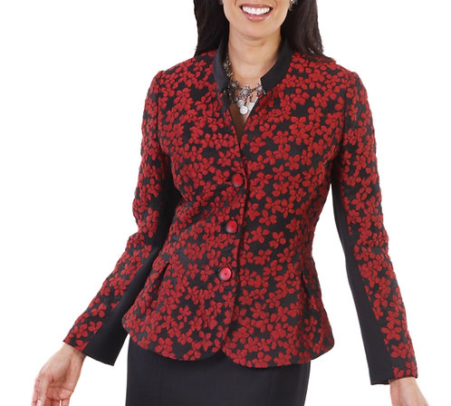Red and Black Floral Flared Jacket