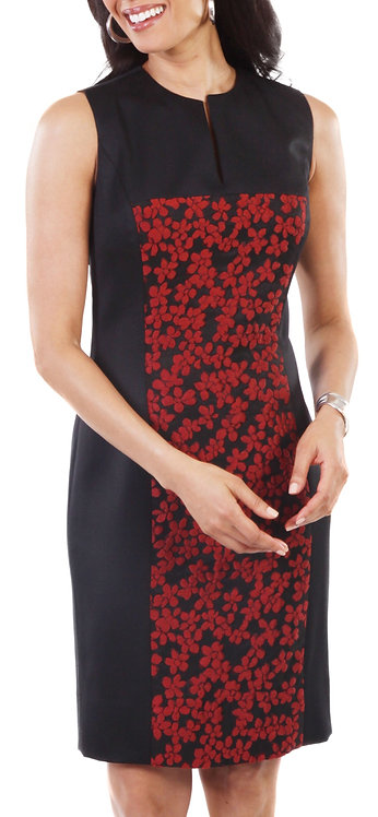 Red and Black Floral Paneled Sheath Dress