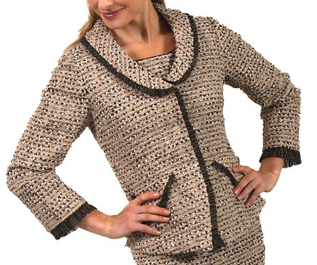 Beige and Black Tweed Ruffle Trim Jacket