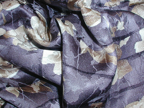 Gray/Beige/Brown Floral Jacquard Print Silk Charmeuse-S389
