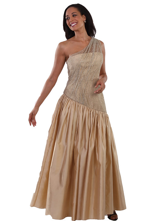 One Shoulder Drop Waist Ruched Gown
