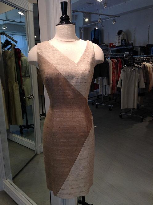 Asymmetrical V-Neck Paneled Sheath Dress