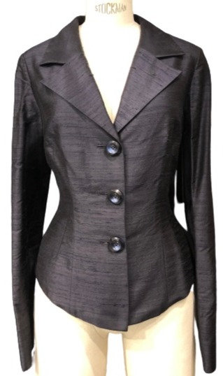 Black Italian Silk Notch Lapel Cocktail Jacket