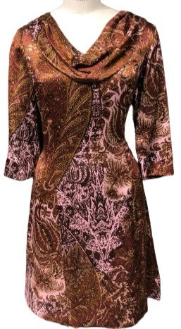 Wine and Pink Paisley Silk Cowl Neck Dress