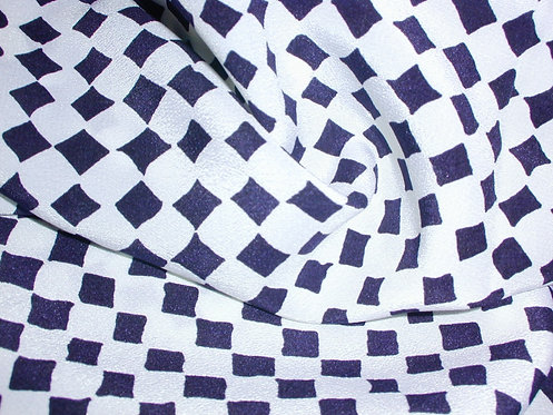 White/Navy Check Print Silk Charmeuse-S353