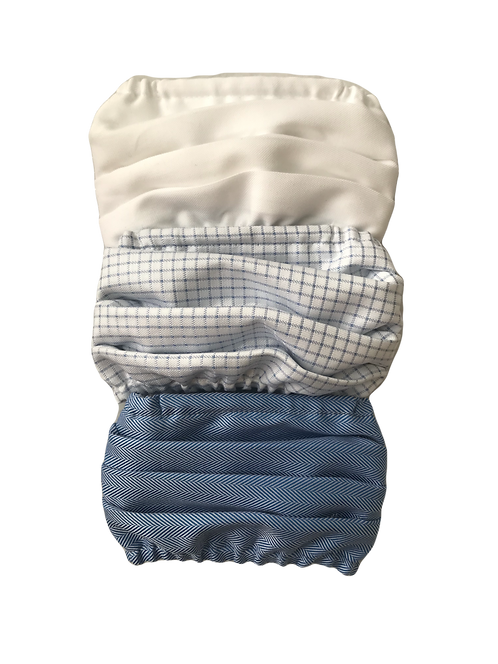 White-Blue Check-Blue Herringbone Multiset - 100% Cotton Mask w/Filter