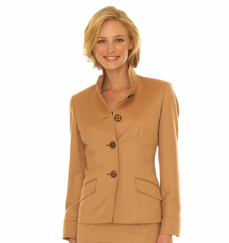Camel Wool Satin Stand Collar 3 Button Jacket
