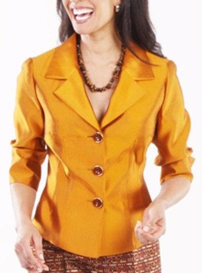 Pumpkin Silk Portrait Collar Cocktail Flash Jacket